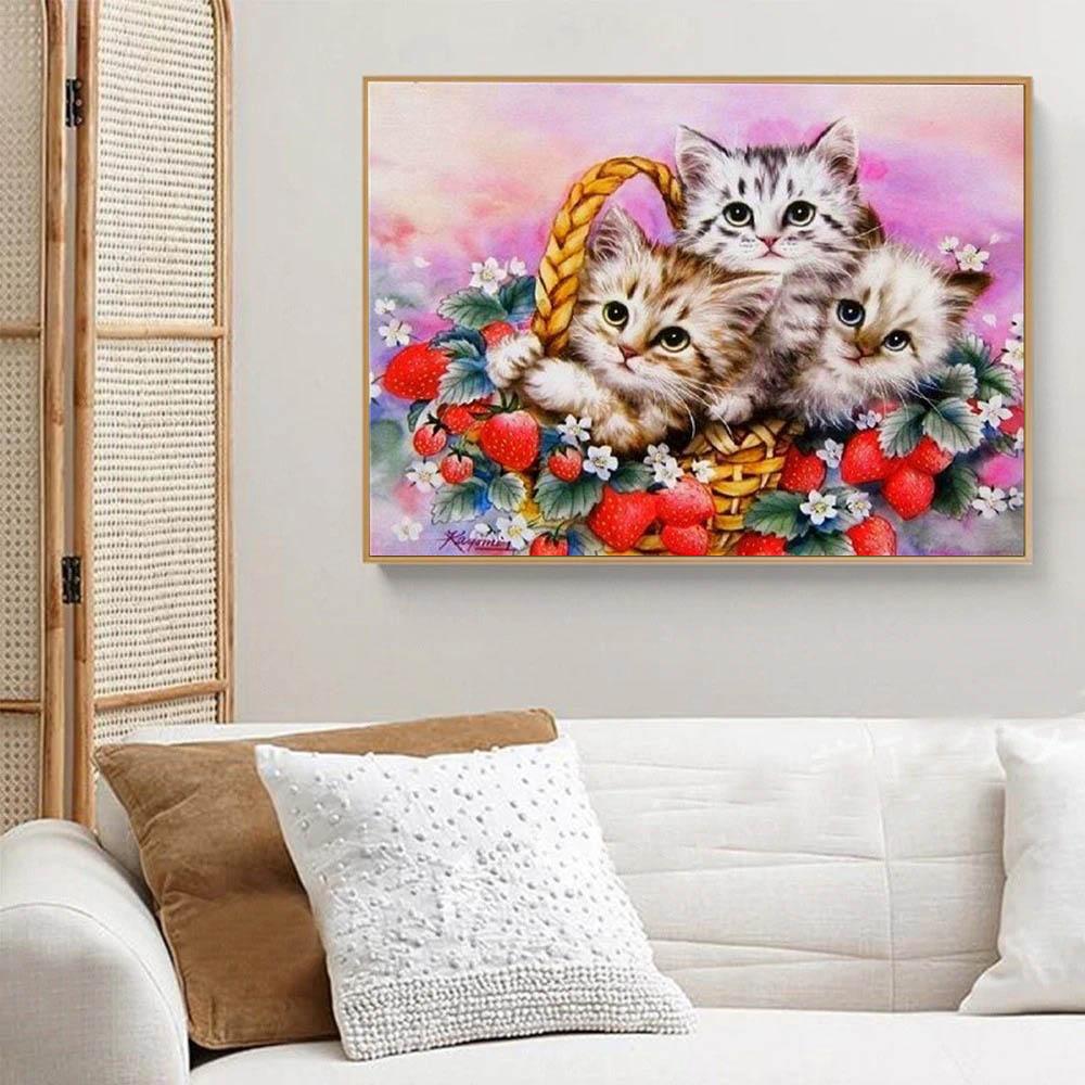 borderie diamant chats panier, chatons dans un panier avec fleurs